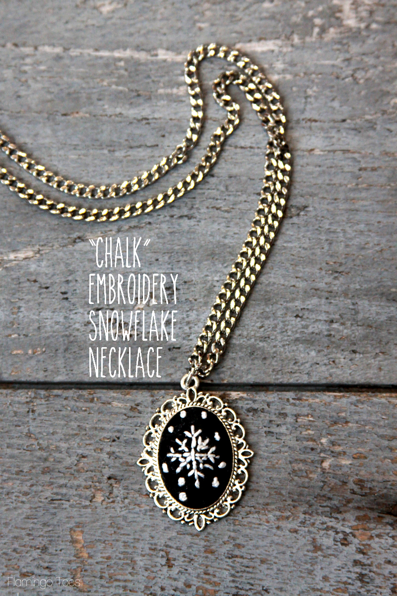 DIY Chalk Embroidery Snowflake Necklace