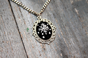 """Chalk"" Embroidery Snowflake Necklace"