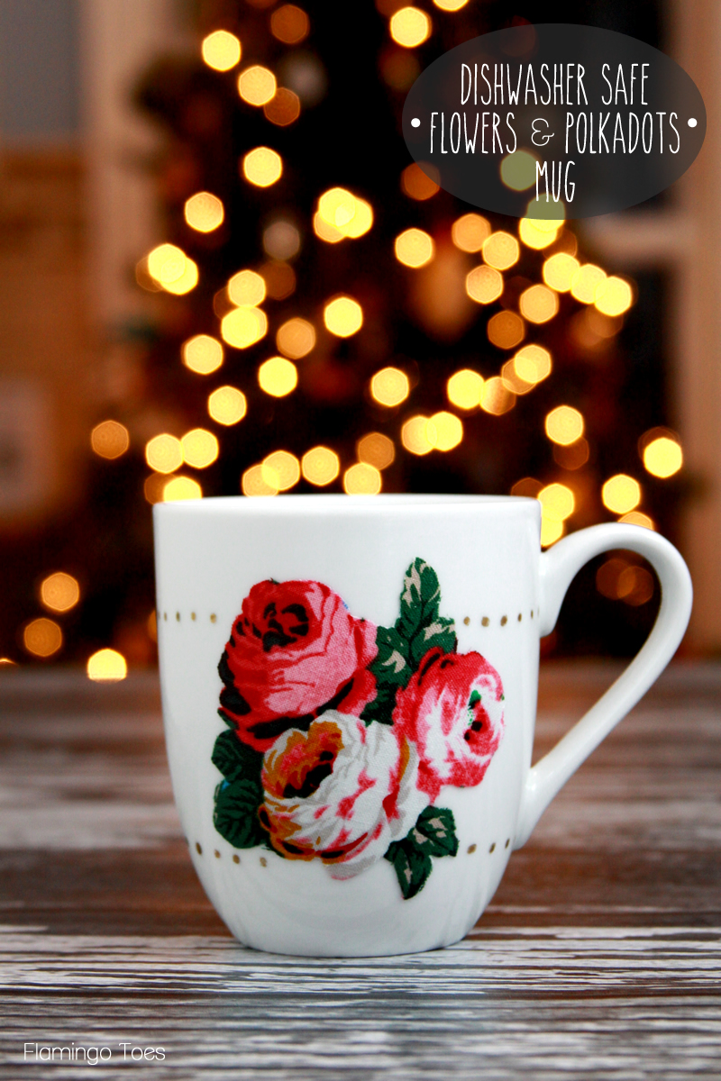 Fabric Flowers and Polkadots Mug