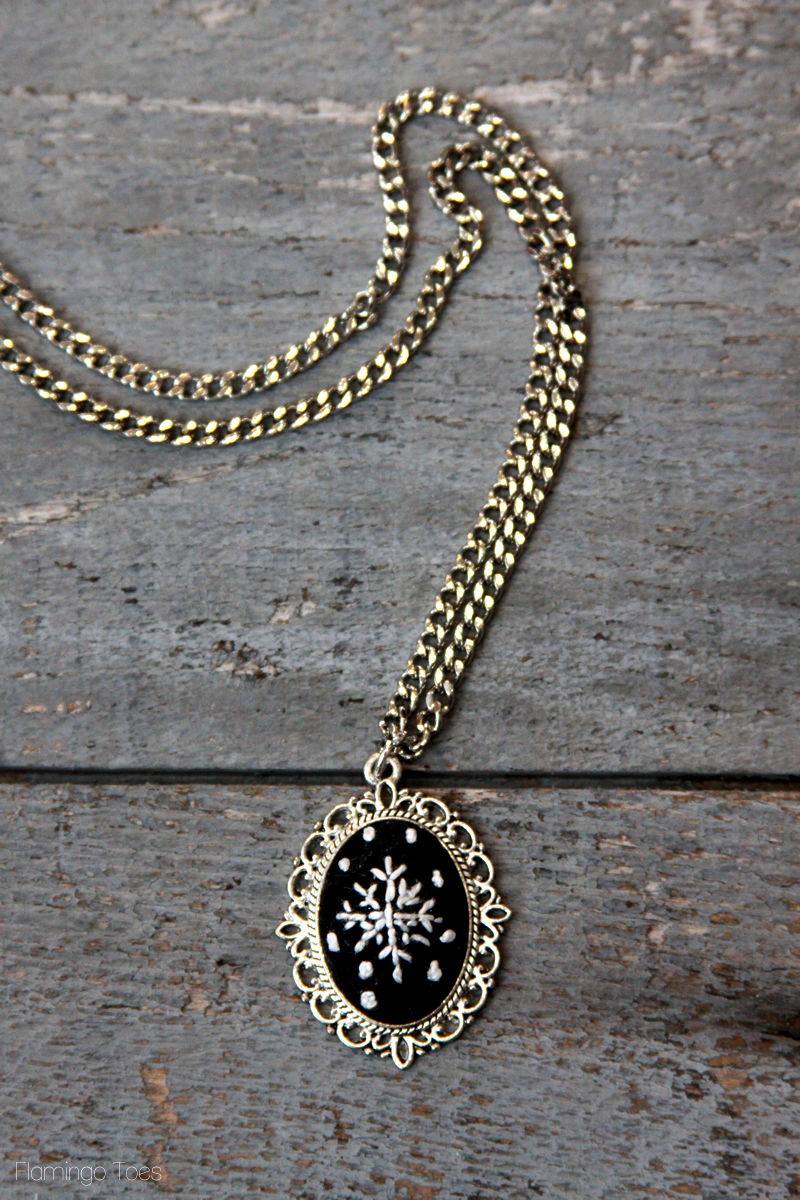 Embroidered Chalk Snowflake Necklace