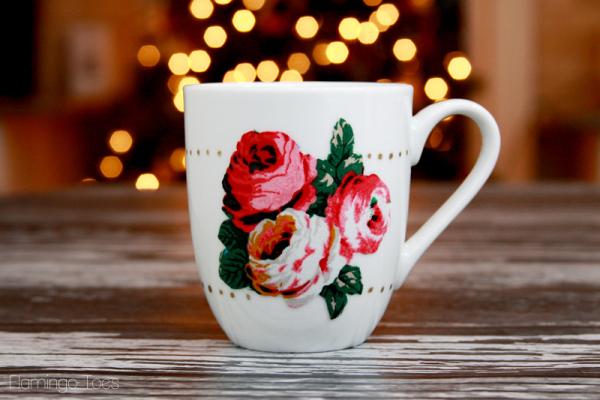 Flowers and Gold Polkadots Mug
