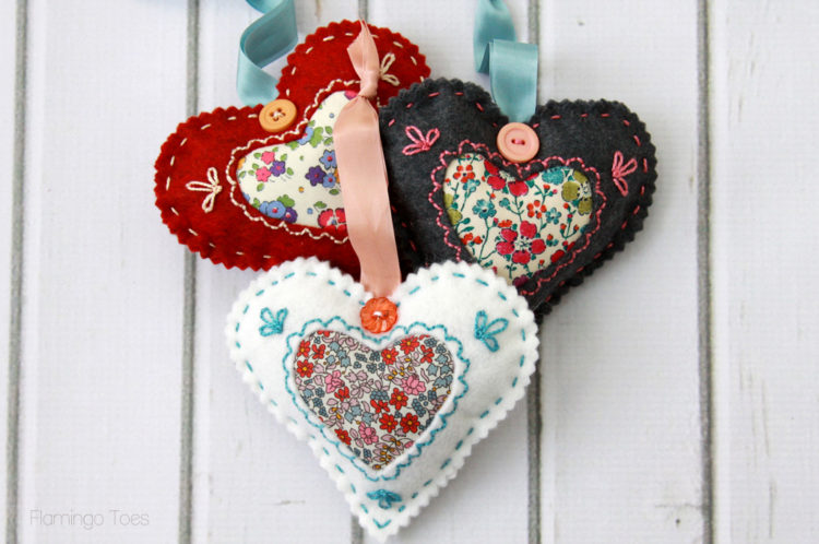 Fabric and Felt Valentine Sachets