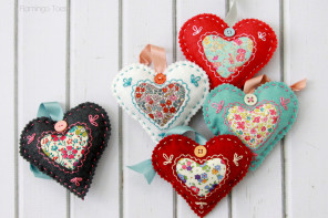 DIY Fabric Heart Valentines