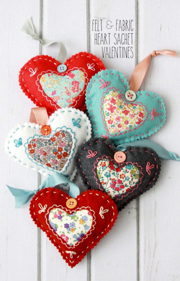 DIY Fabric Hearts for Valentines Day featured by top US craft blog, Flamingo Toes.