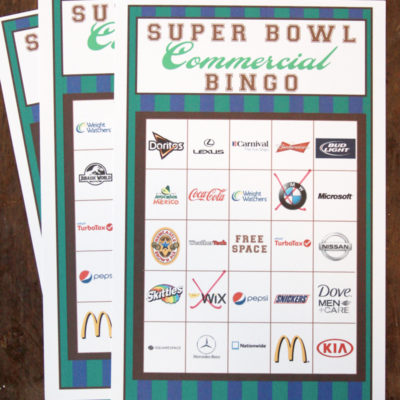 2015 Big Game Commercial Bingo