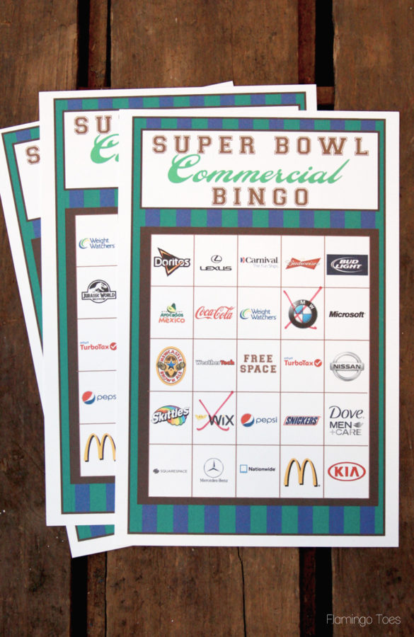 Super Bowl Commercial Bingo - Updated with 2015 Commercials!