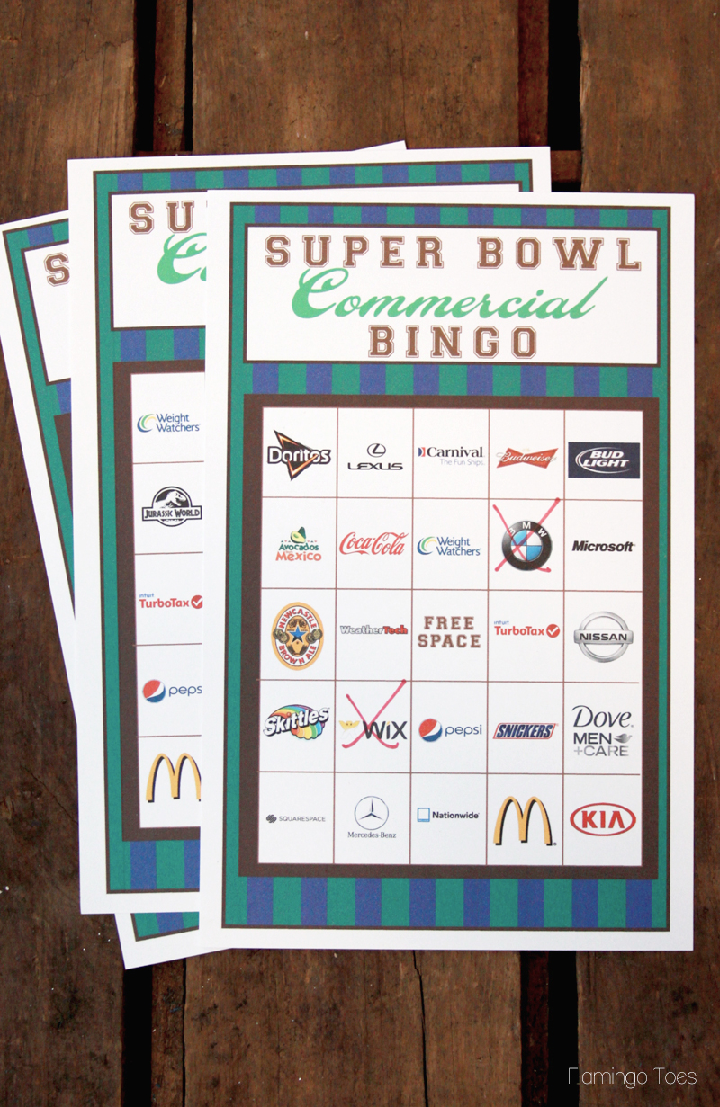 2015 super bowl commercial bingo cards printable