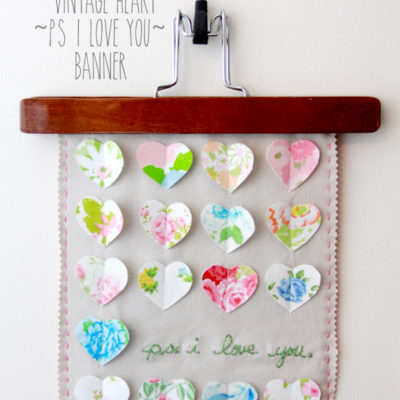 Vintage Hearts PS I Love You Banner