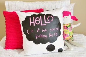 DIY Chalk Cloth Speech Bubble Pillow
