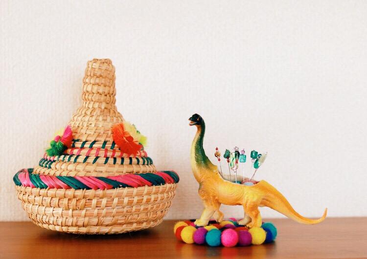 Beaded Pins and Whimsical Dinosaur Pinsushion