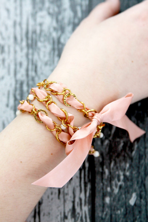 Chain and Vintage Ribbon Bracelet