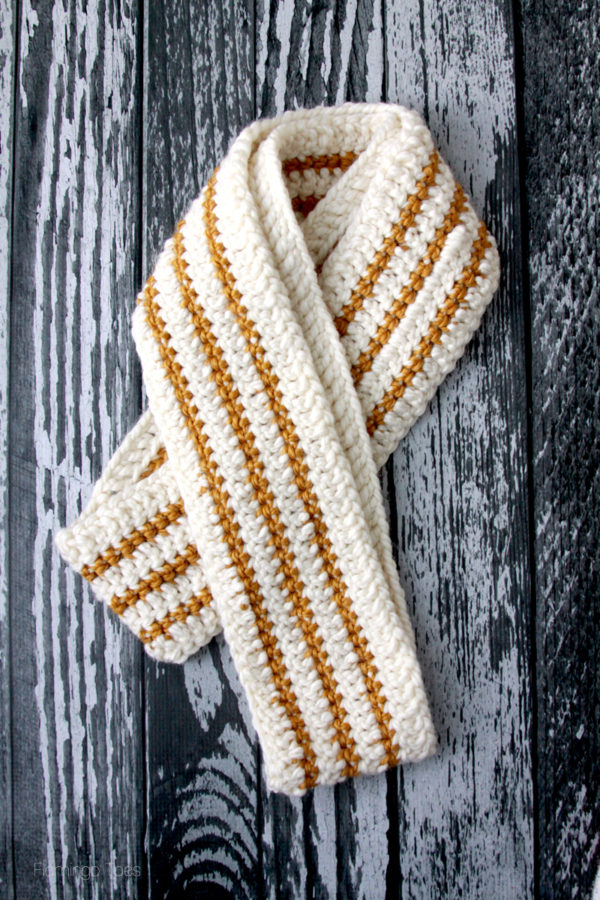 Chunky Striped Crochet Scarf