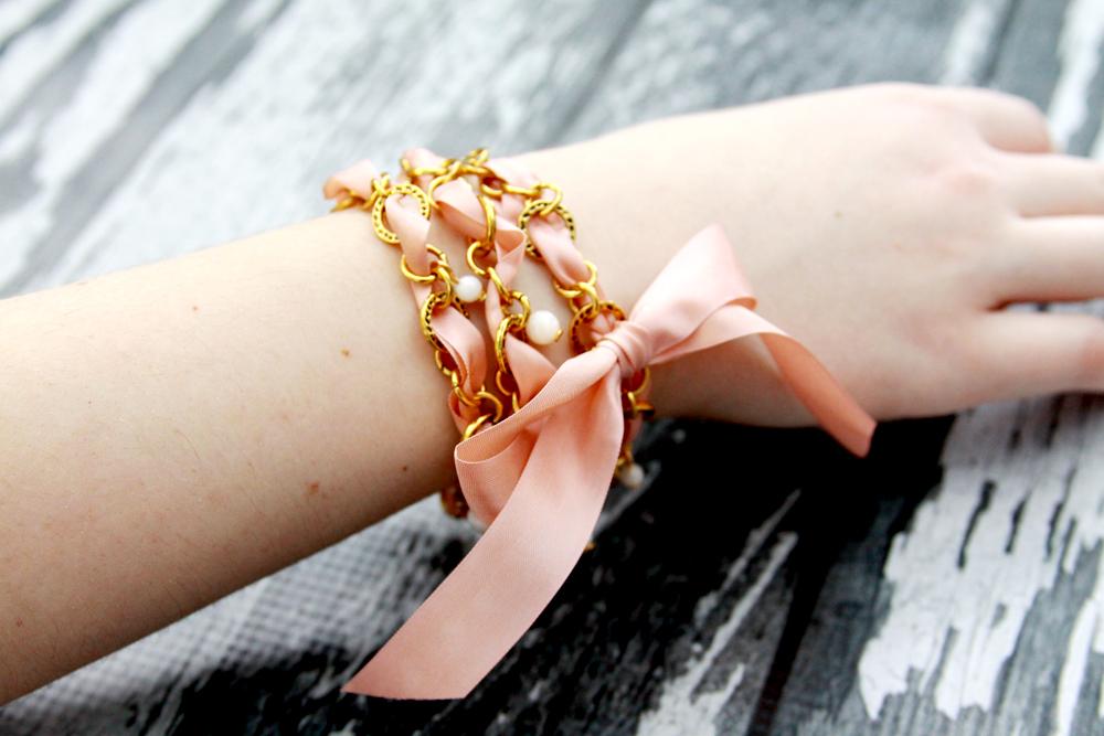 Ribbon and Chain Wrap Bracelet