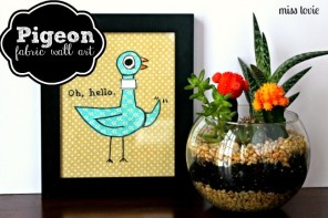 Adorable Pigeon Fabric Wall Art