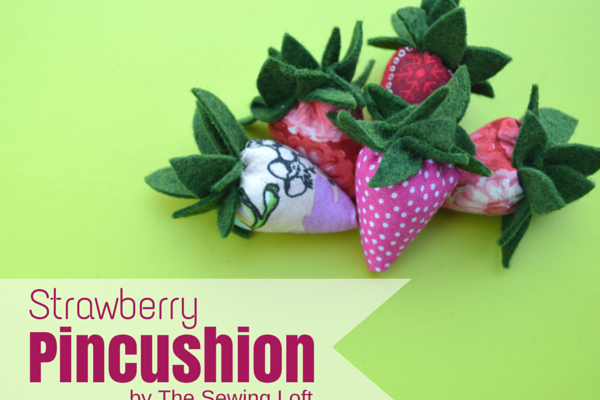 Scrappy Strawberry Pincushions - so perfect for using up fabric scraps!