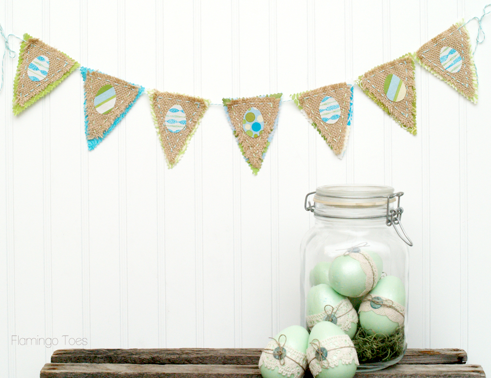 Burlap and Fabric Easter Egg Bunting