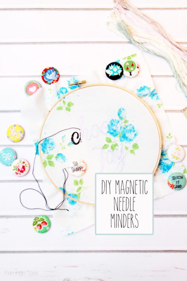 DIY Magnetic Needle Minders - how cool is this?! These are perfect for holding needles when you're not stitching!