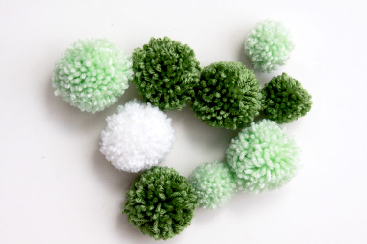 Green-and-White-Pom-Poms