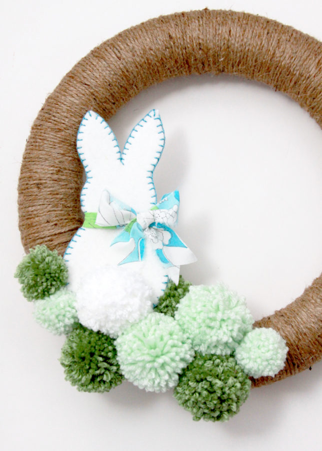 Pom-poms-and-bunny-on-wreath