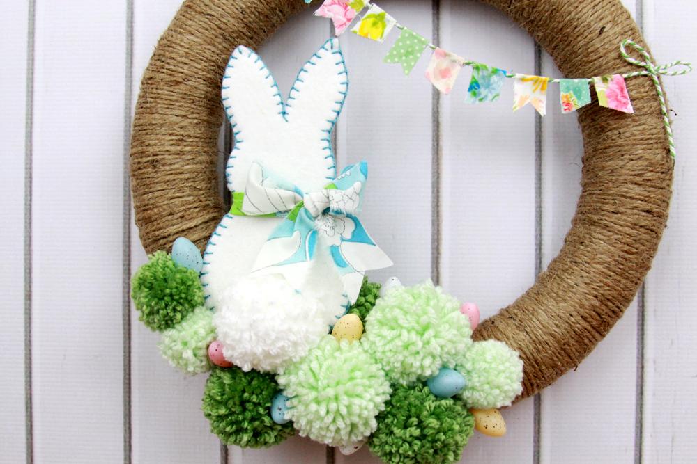 Spring Bunny Pom Pom Wreath