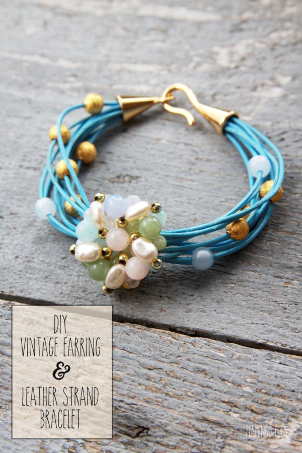 DIY Vintage Earring and Leather Strand Bracelet