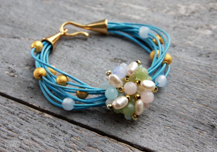 Gold-and-Pearl-Leather-Bracelet