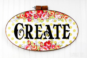 "Polkadots and Flowers – ""Create"" Hoop Art"