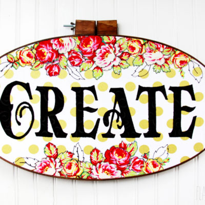 "Polkadots and Flowers – ""Create"" Hoop Art"
