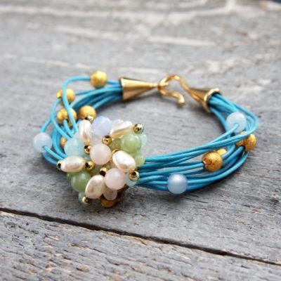 Vintage Bead and Leather Bracelet