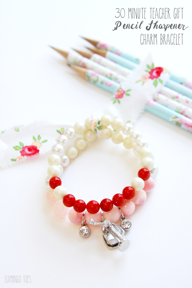 30 Minute Teacher Gift Pencil Sharpener Charm Bracelet