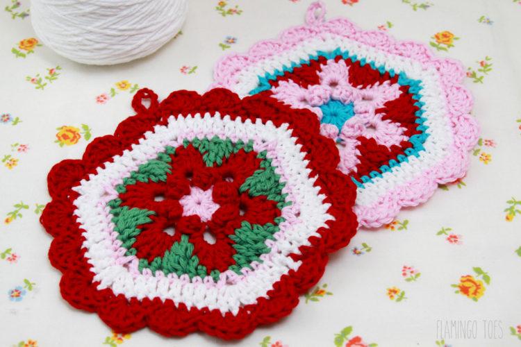 Crochet Hexagon Retro Potholder