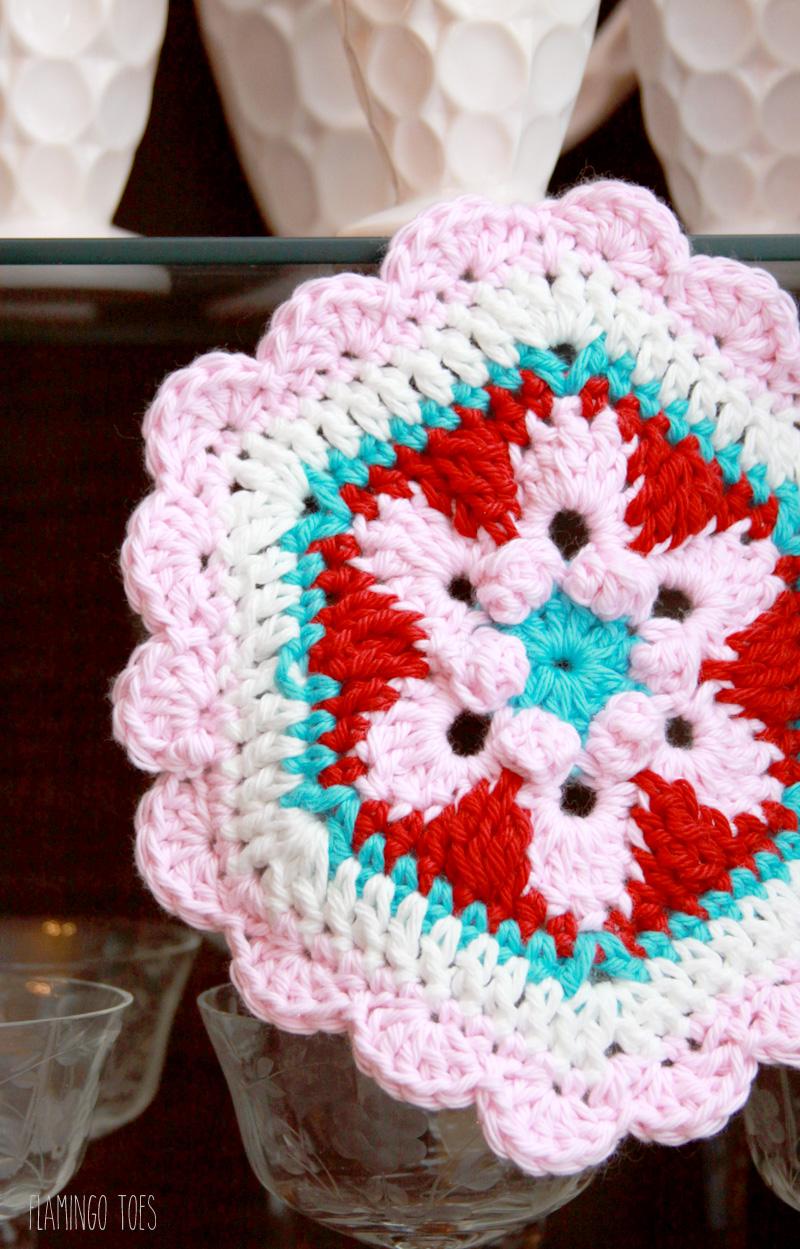 Crochet Star Lily Hexagon Potholder -