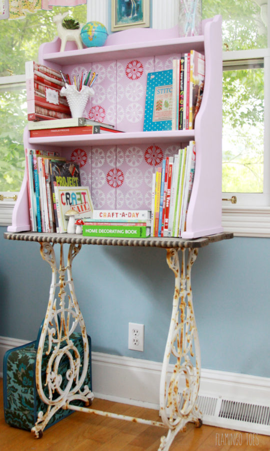 Stenciled Retro Craft Room Bookshelf