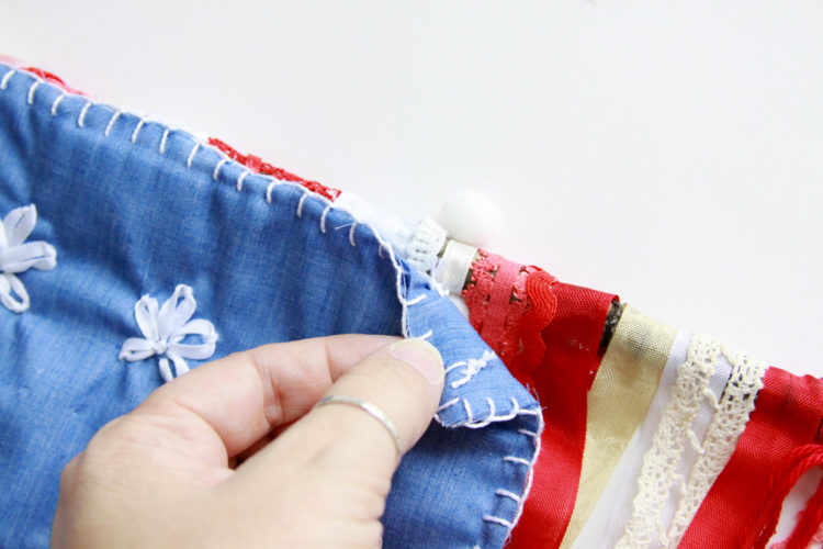 Stitching Star fabric to flag
