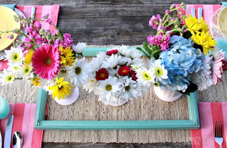 Vintage Style Floral Table Centerpiece