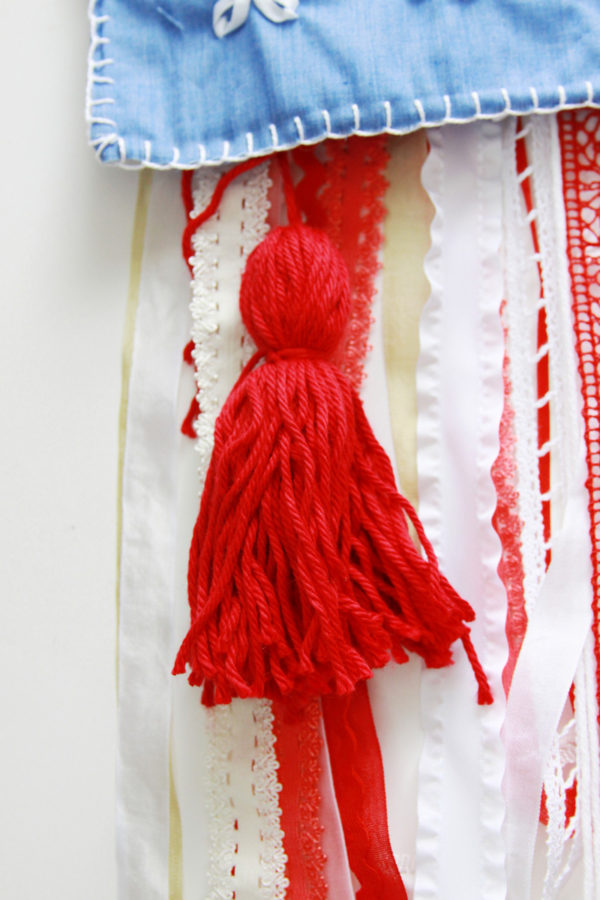 Yarn Tassels on Flag