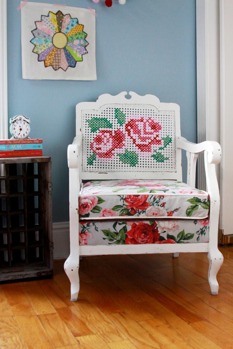 Cross Stitch Antique Chair Refinish - Cross Stitch Antique Chair Refinish -