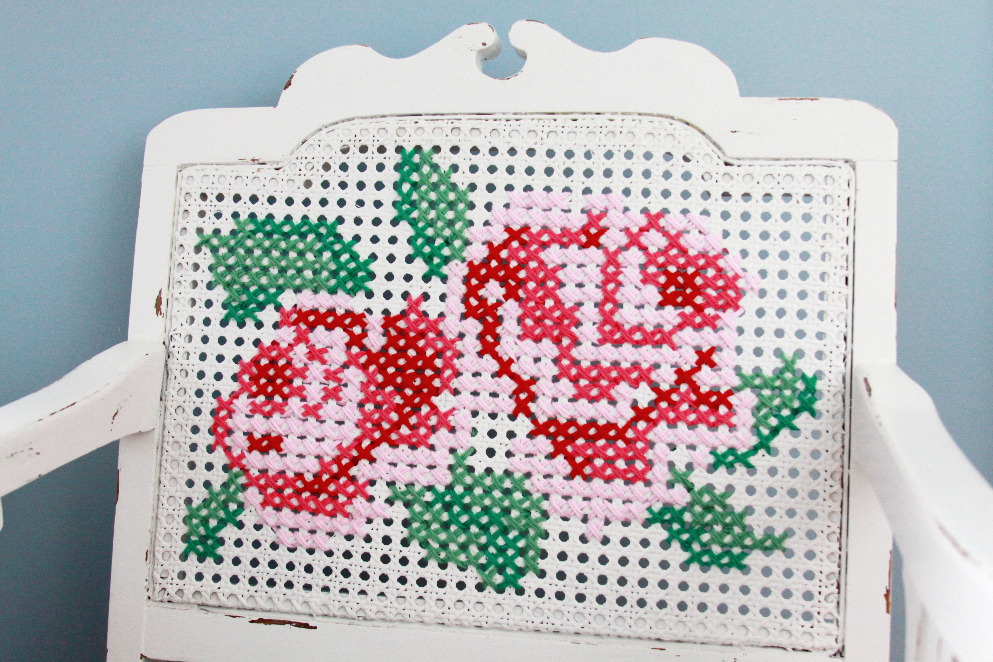 Cross Stitch Roses on Chair