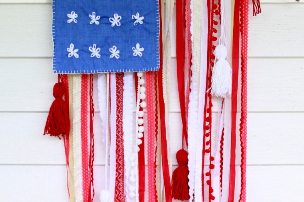 Rustic Lace and Ribbon USA Flag