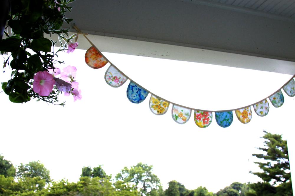 Vintage sheet banner for porch