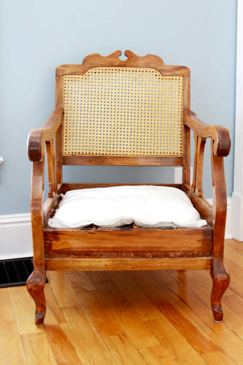Wicker and Wooden Chair Before Refinishing