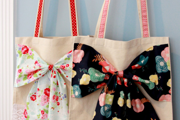 Fabric Bow Canvas Totes