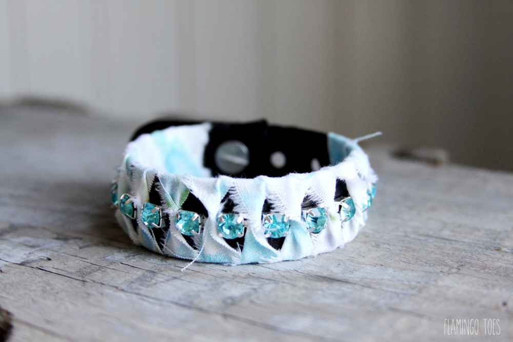 Fabric and Rhinestone Bracelet