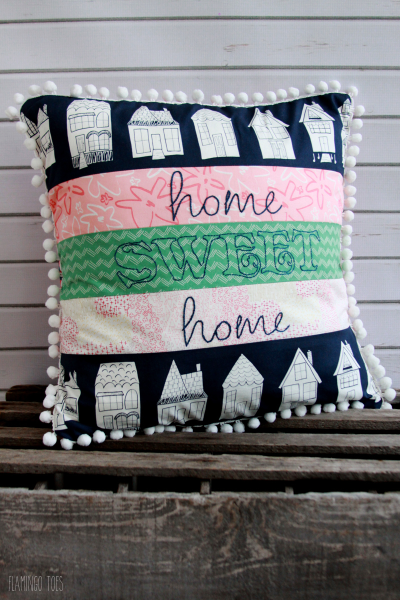 Happy Home Embroidered Pillow