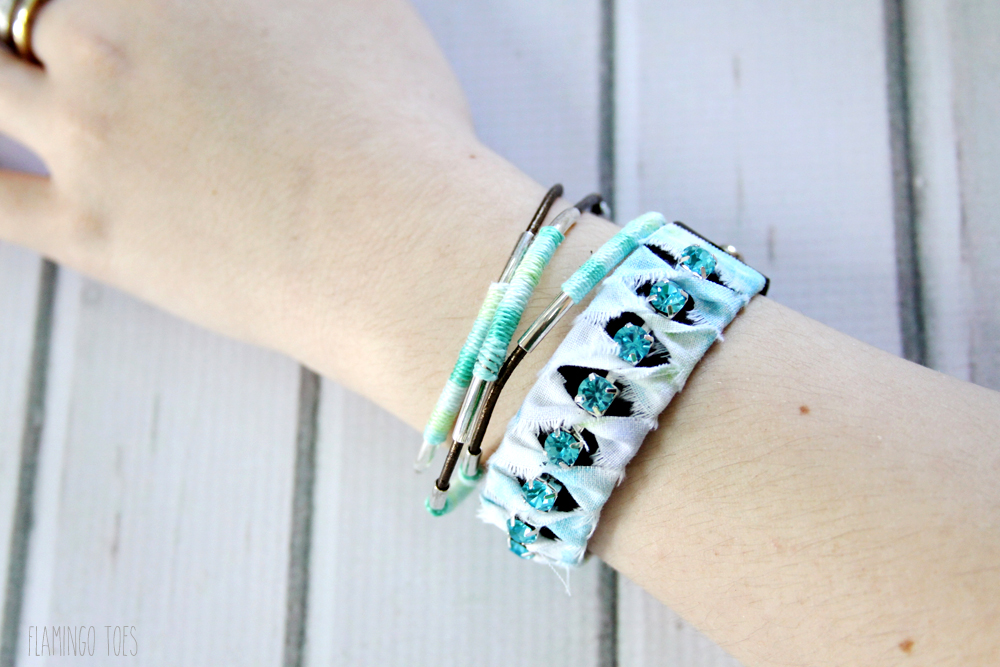 Leather and fabric bracelets