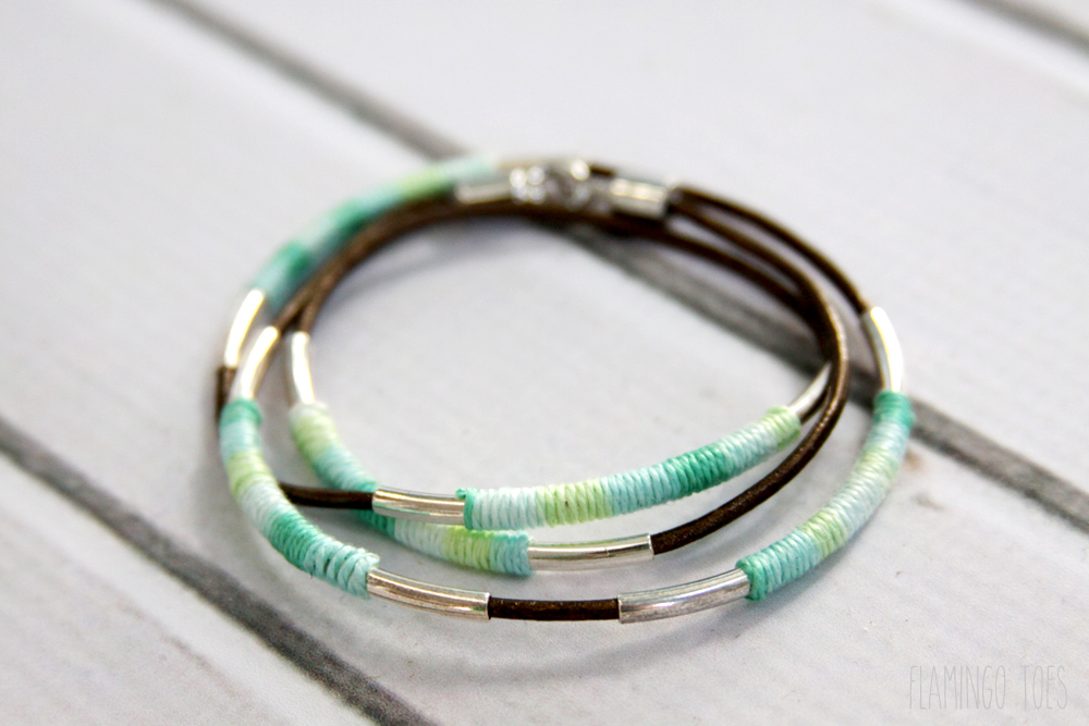 Thread and Leather Wrap Bracelet