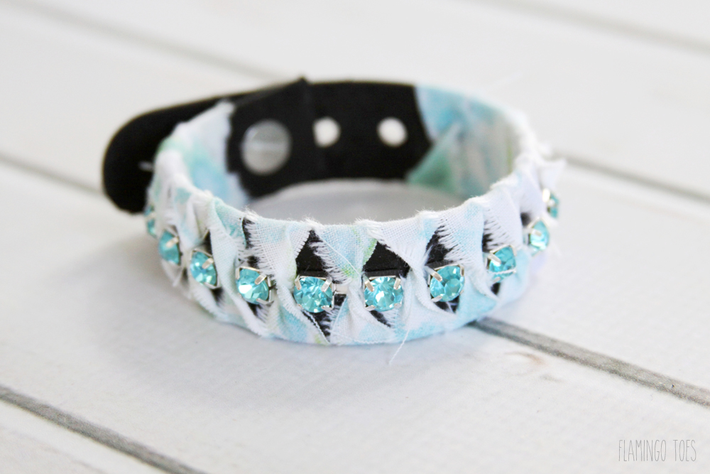 fabric and rhinestone leather bracelet