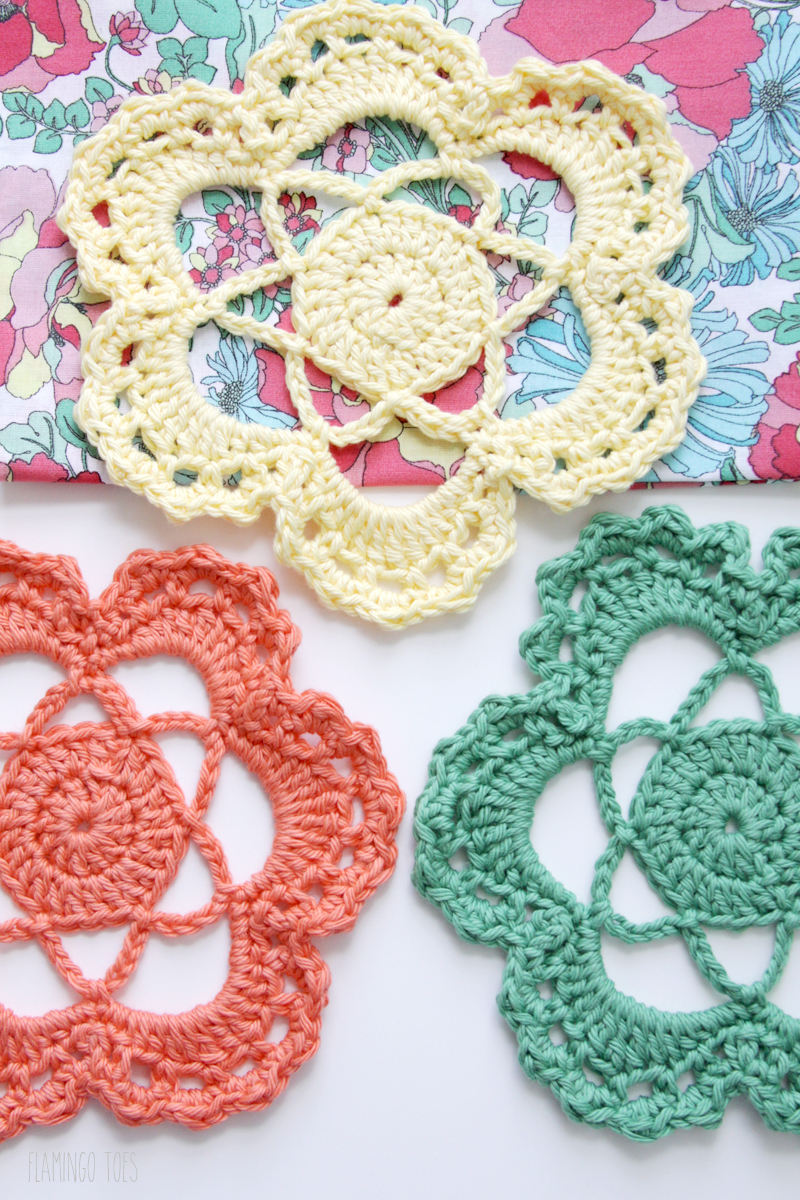 Colorful Crochet Flower Doilies