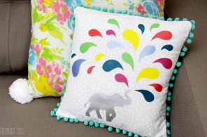 Colorful Vinyl Elephant Pillow