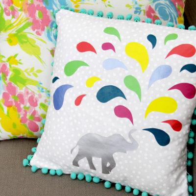 Colorful Vinyl Elephant Pillow
